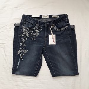 Jessica Simpson Embroidered Distressed Ankle Jeans